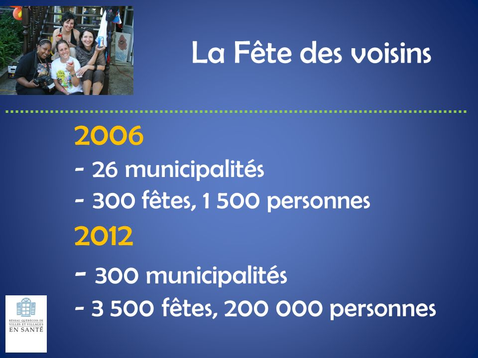 La Fête des voisins 2006 2012 - 300 municipalités