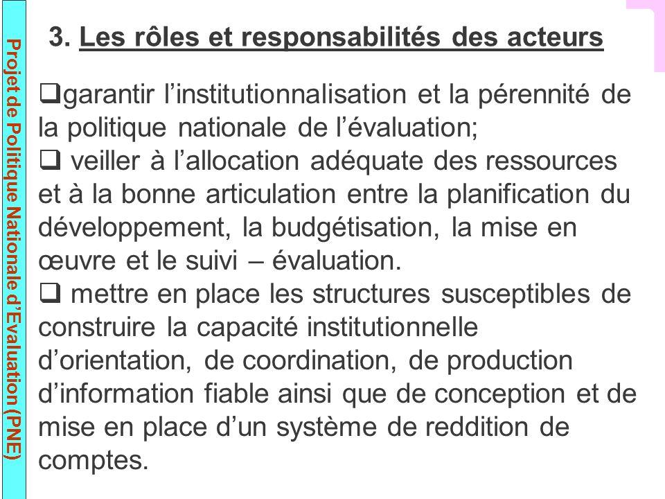 3. Les rôles et responsabilités des acteurs