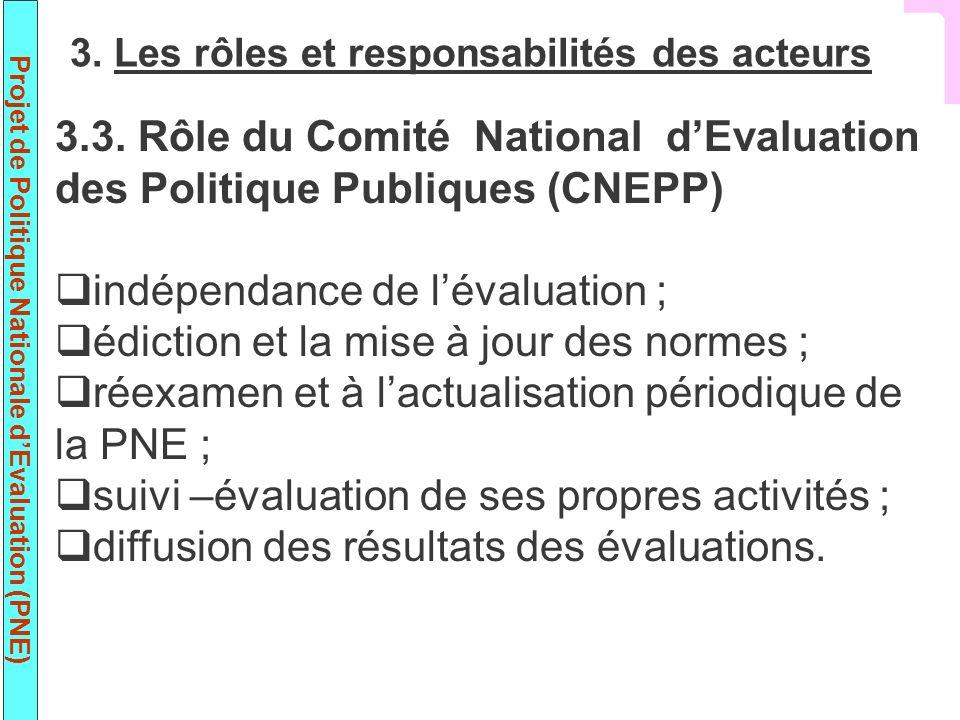 indépendance de l'évaluation ; édiction et la mise à jour des normes ;