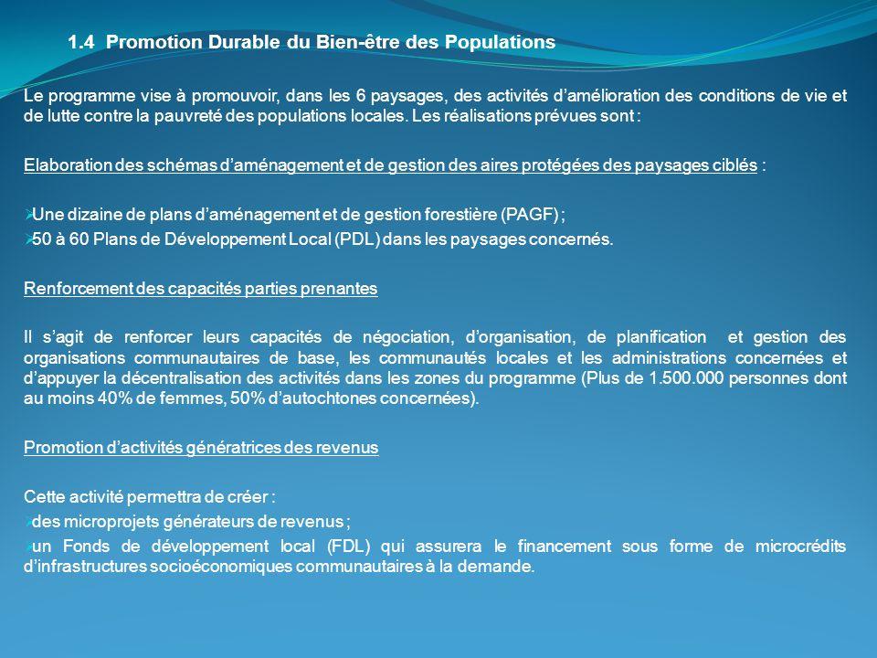 1.4 Promotion Durable du Bien-être des Populations