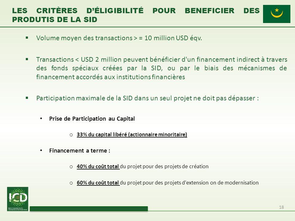 Les critères d'éligibilité POUR BENEFICIER DES PRODUTIS DE LA SID