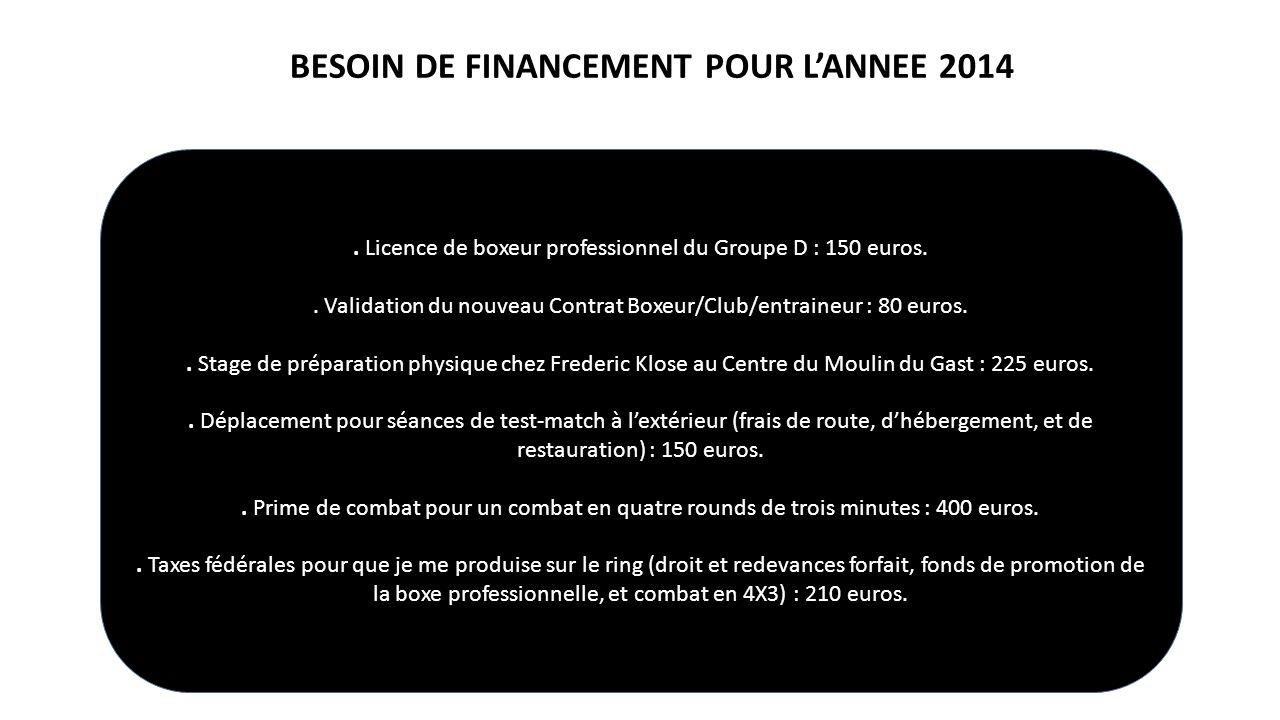BESOIN DE FINANCEMENT POUR L'ANNEE 2014