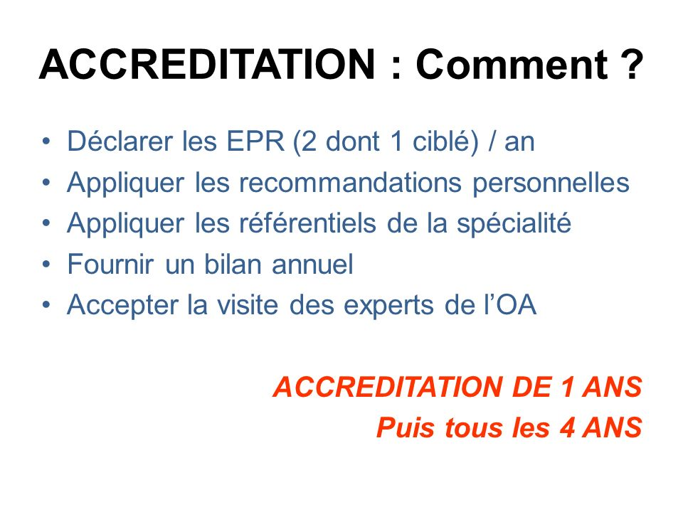 ACCREDITATION : Comment