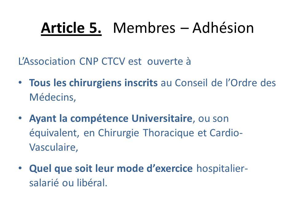 Article 5. Membres – Adhésion