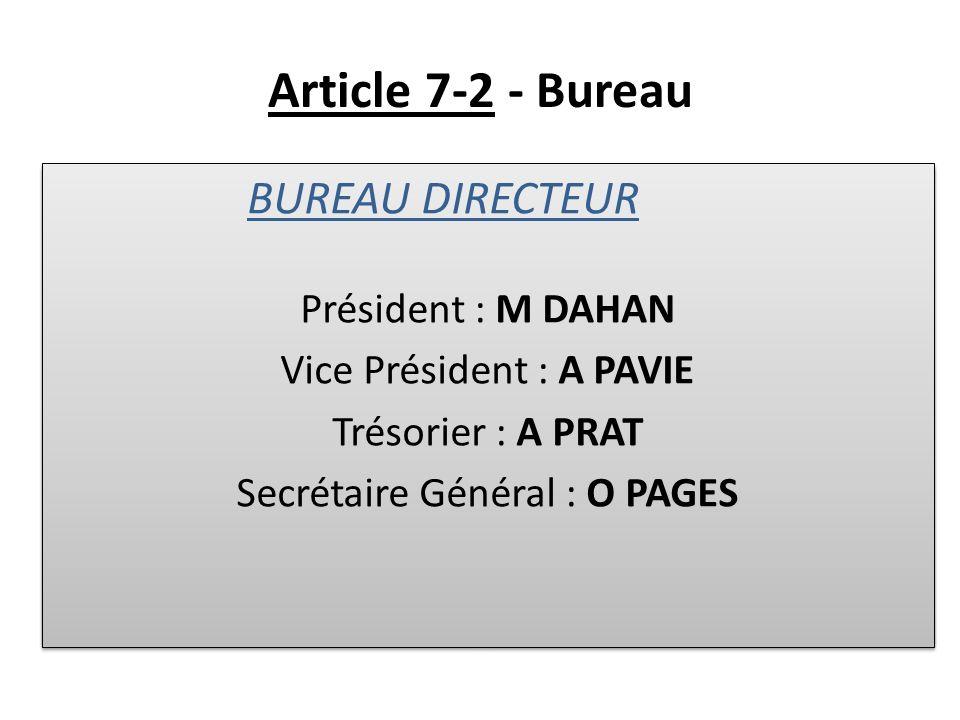 Article 7-2 - Bureau BUREAU DIRECTEUR Membres de Droit Membres Elus