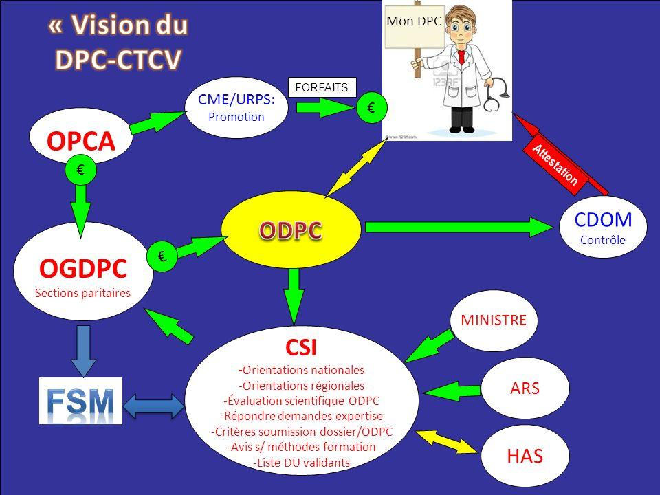 FSM « Vision du DPC-CTCV OPCA OGDPC ODPC CSI CDOM HAS ARS CME/URPS: €