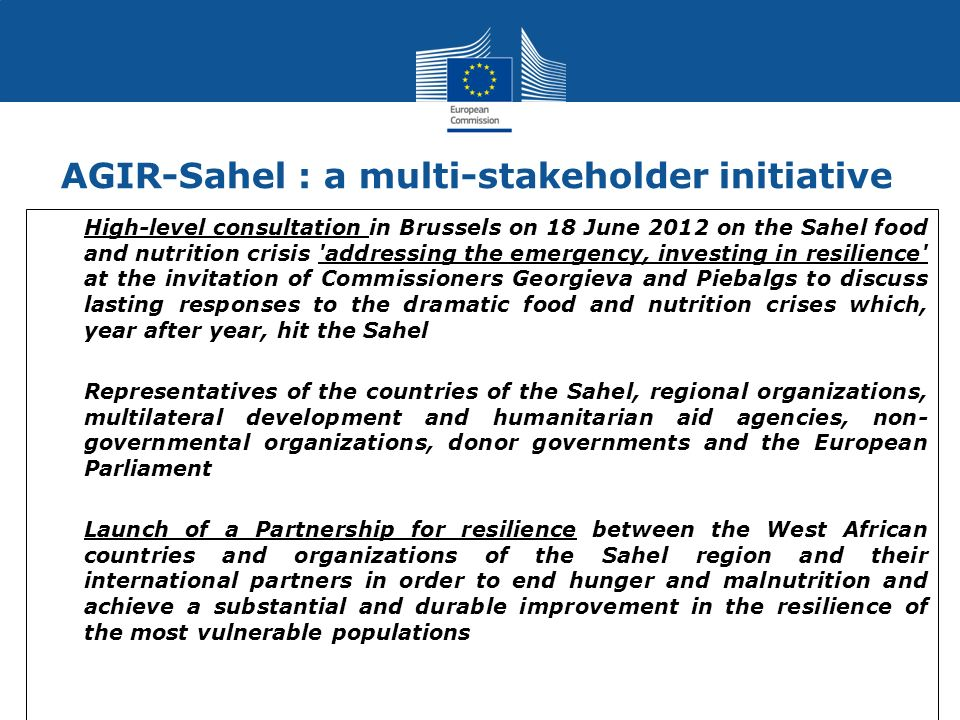 AGIR-Sahel : a multi-stakeholder initiative