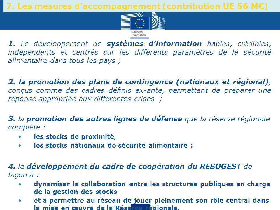 7. Les mesures d accompagnement (contribution UE 56 M€)