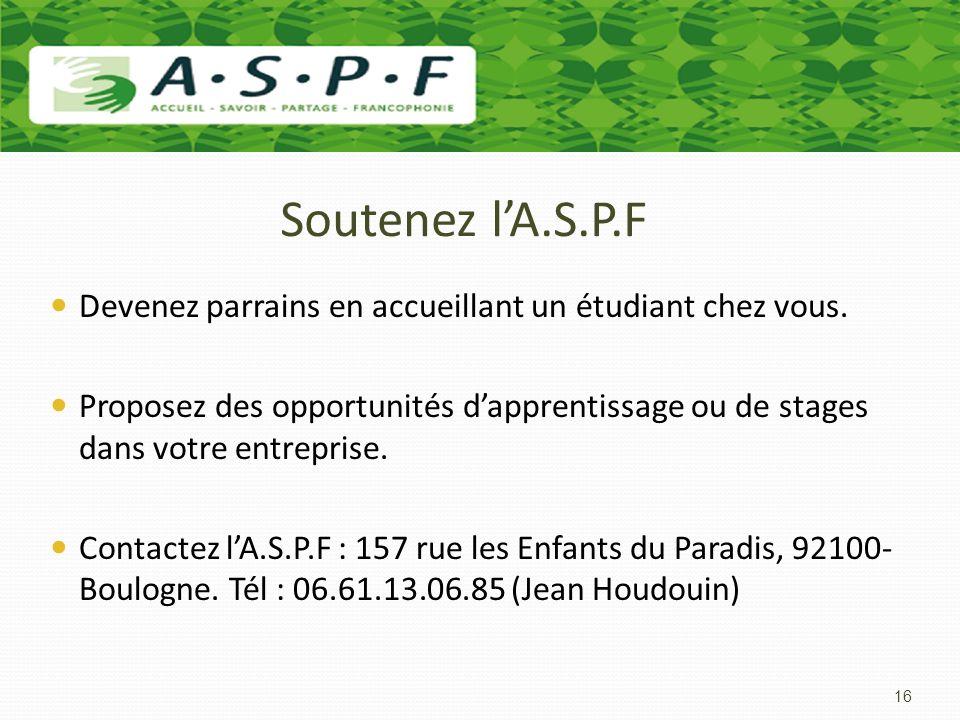 Soutenez l'A.S.P.F Devenez parrains en accueillant un étudiant chez vous.