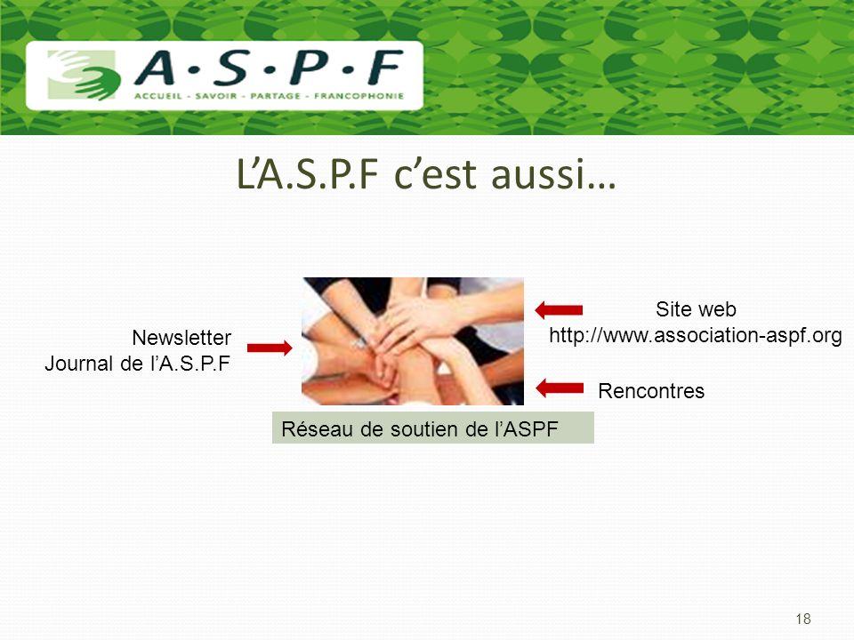 L'A.S.P.F c'est aussi… Site web http://www.association-aspf.org