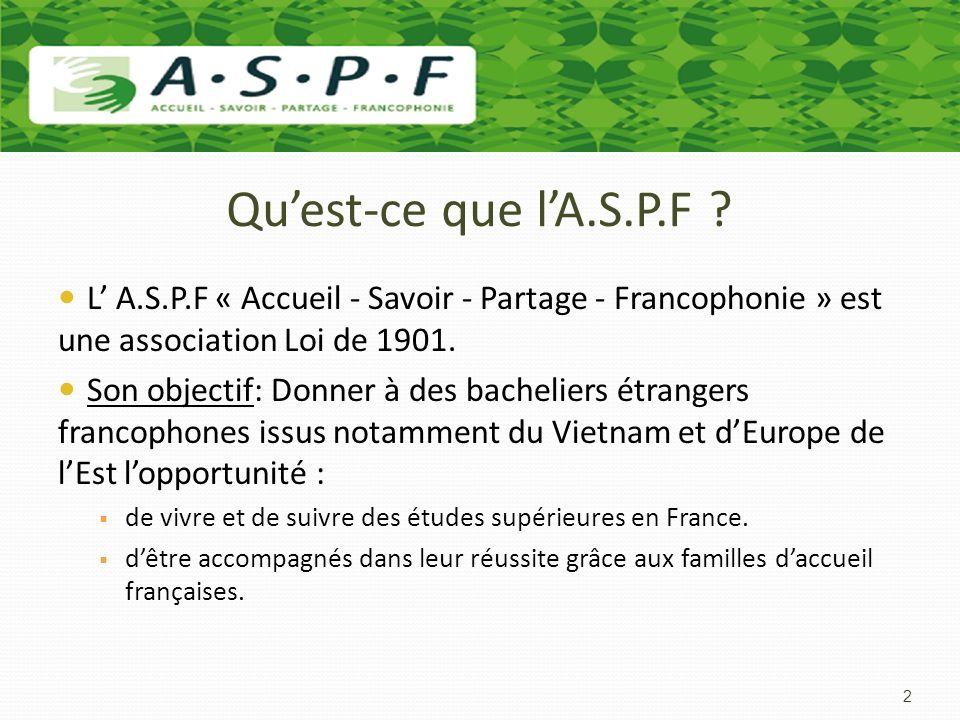 Qu'est-ce que l'A.S.P.F L' A.S.P.F « Accueil - Savoir - Partage - Francophonie » est une association Loi de 1901.