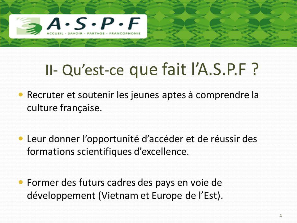 II- Qu'est-ce que fait l'A.S.P.F