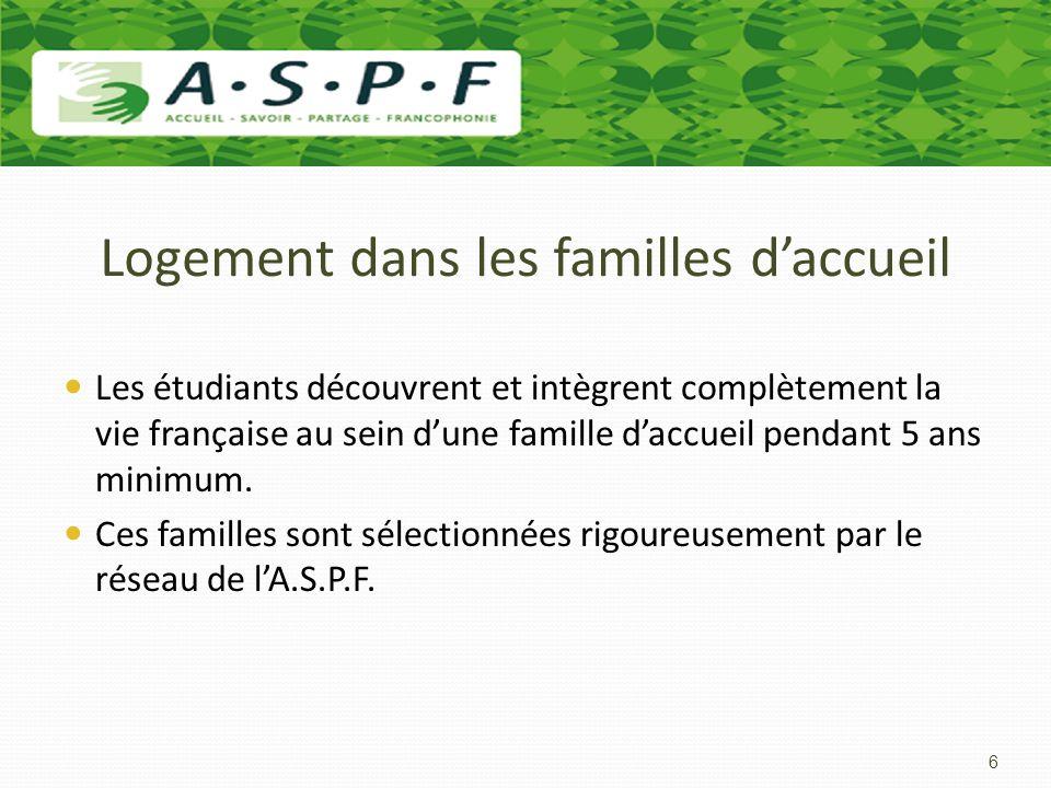 Logement dans les familles d'accueil