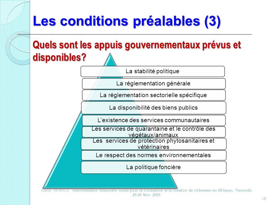 Les conditions préalables (3)