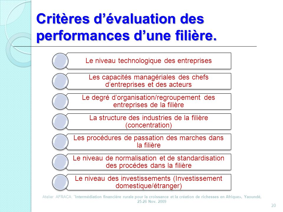 Critères d'évaluation des performances d'une filière.