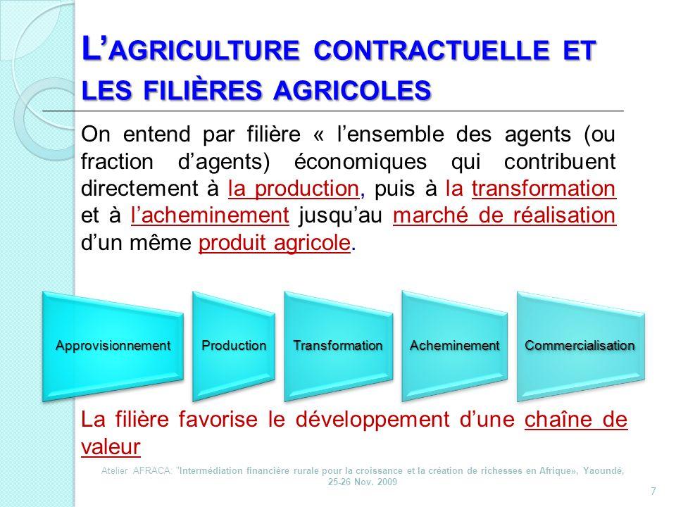 L'agriculture contractuelle et les filières agricoles