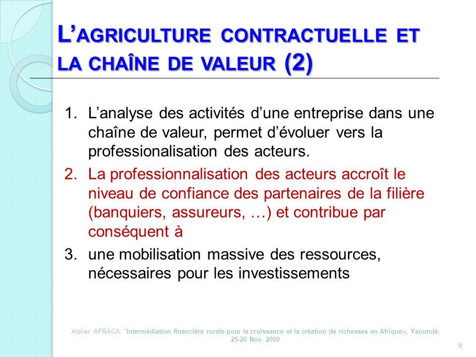 L'agriculture contractuelle et la chaîne de valeur (2)