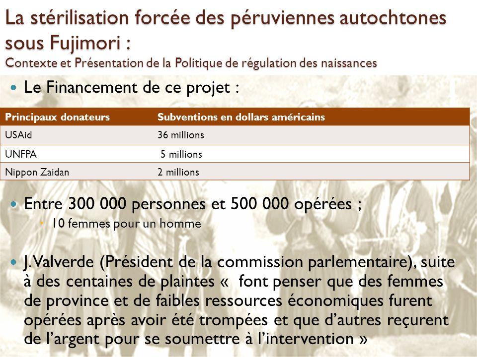 La stérilisation forcée des péruviennes autochtones sous Fujimori : Contexte et Présentation de la Politique de régulation des naissances