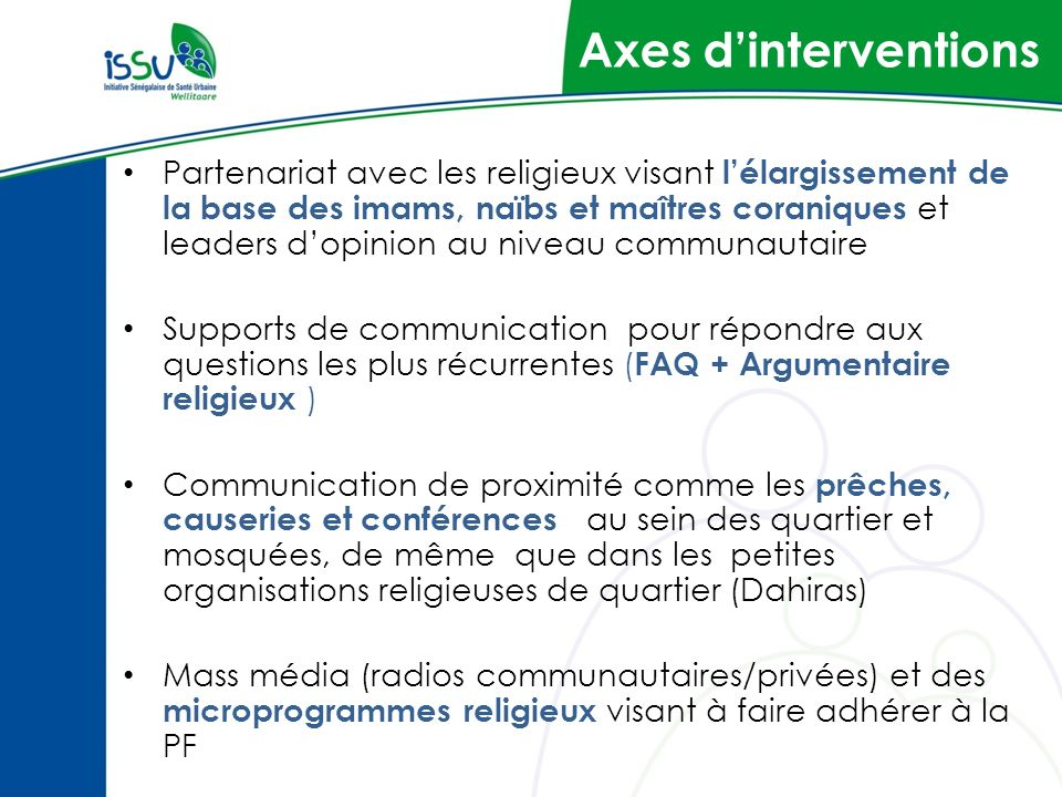 Axes d'interventions