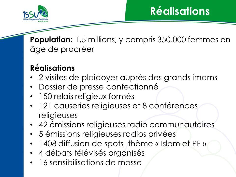 Réalisations Population: 1,5 millions, y compris 350.000 femmes en âge de procréer. Réalisations. 2 visites de plaidoyer auprès des grands imams.