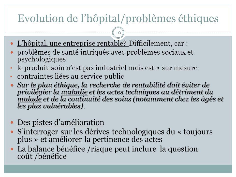 Evolution de l'hôpital/problèmes éthiques