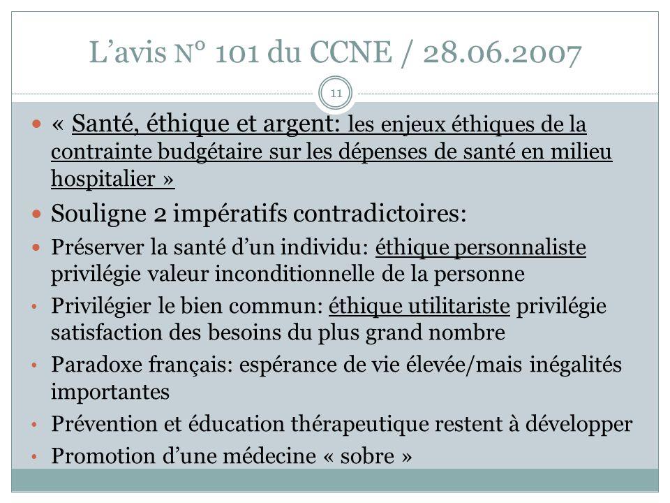 L'avis N° 101 du CCNE / 28.06.2007
