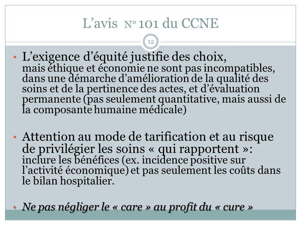 L'avis N° 101 du CCNE