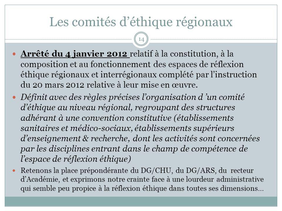 Les comités d'éthique régionaux