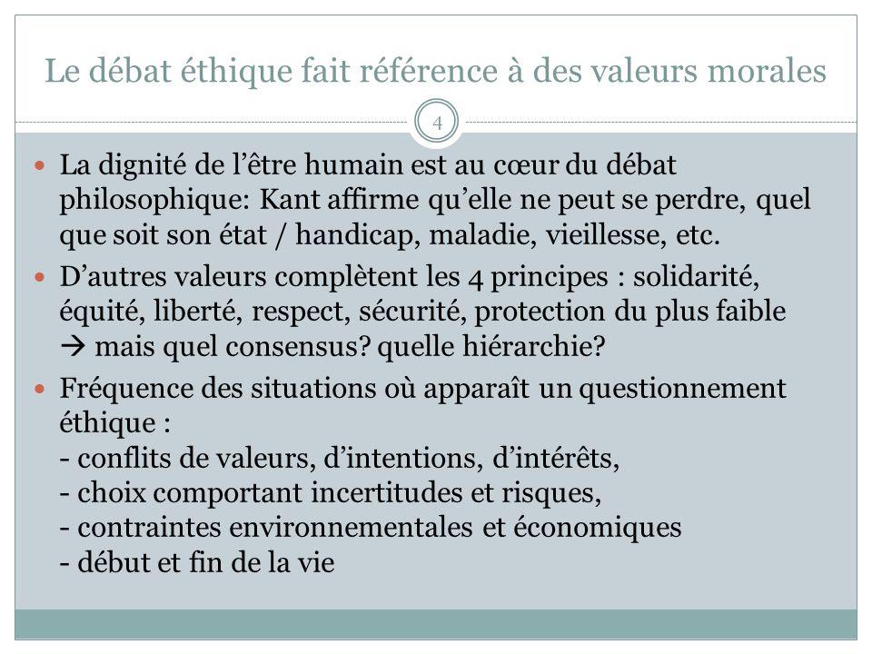 Le débat éthique fait référence à des valeurs morales