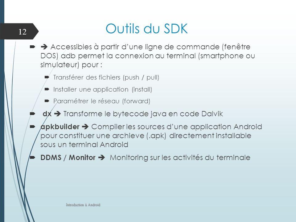 Outils du SDK  Accessibles à partir d'une ligne de commande (fenêtre DOS) adb permet la connexion au terminal (smartphone ou simulateur) pour :