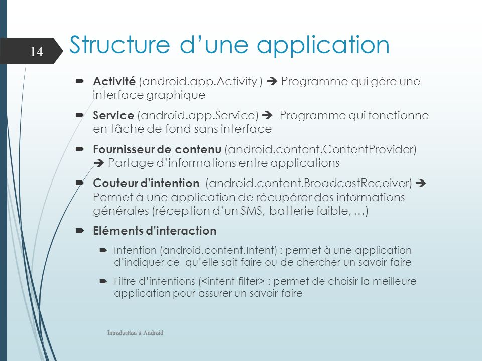 Structure d'une application