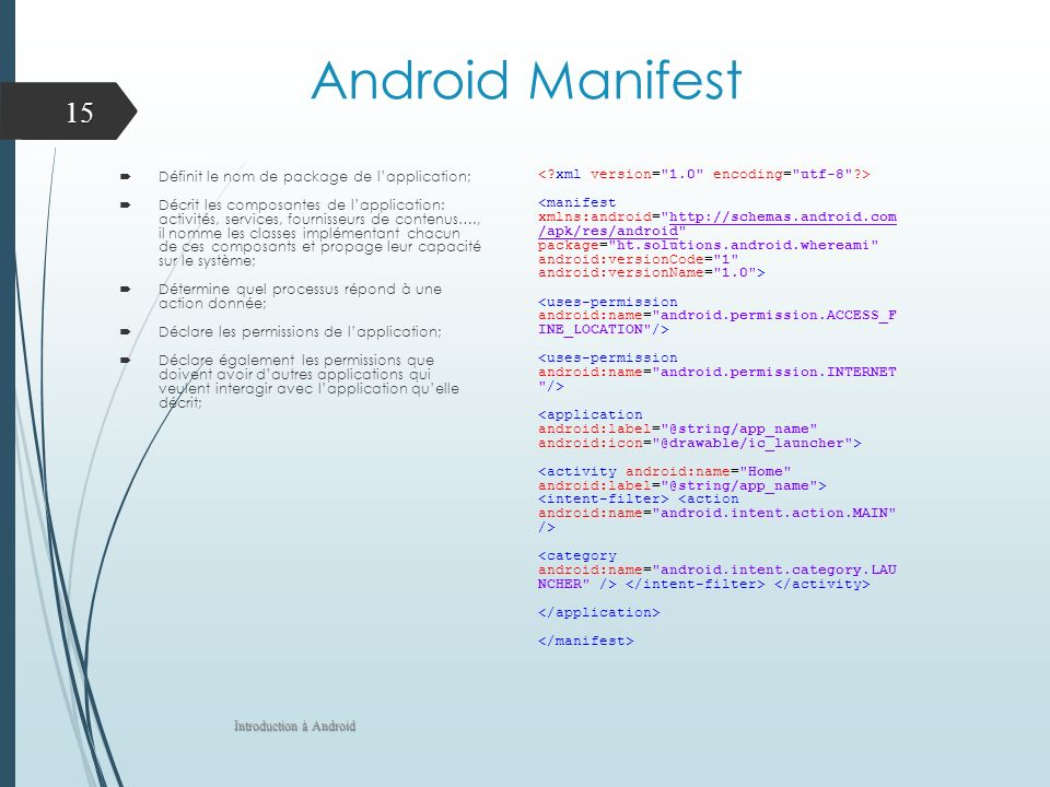 Android Manifest Définit le nom de package de l'application;