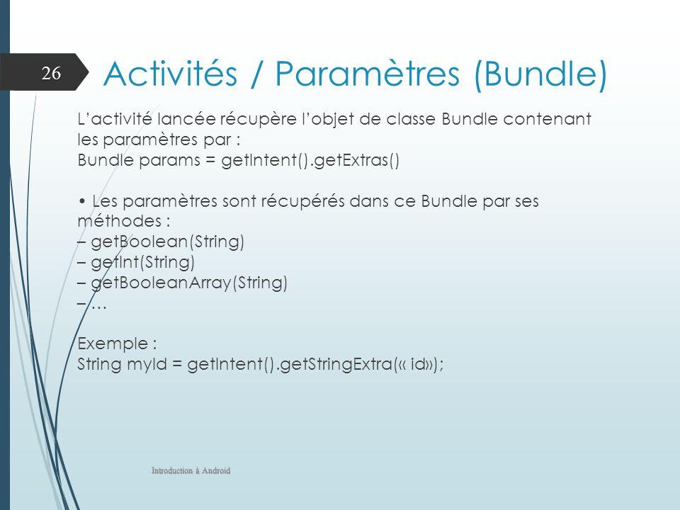 Activités / Paramètres (Bundle)