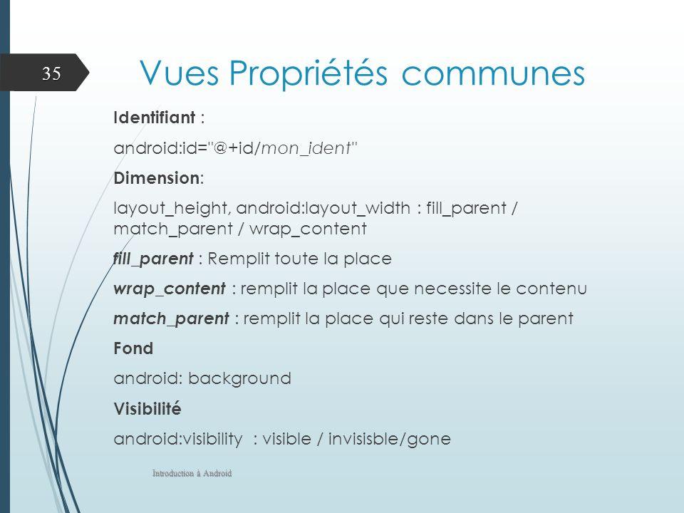 Vues Propriétés communes