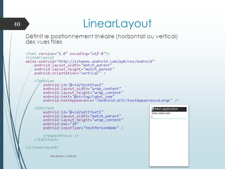 LinearLayout Définit le positionnement linéaire (horizontall ou vertical) des vues filles. < xml version= 1.0 encoding= utf-8 >