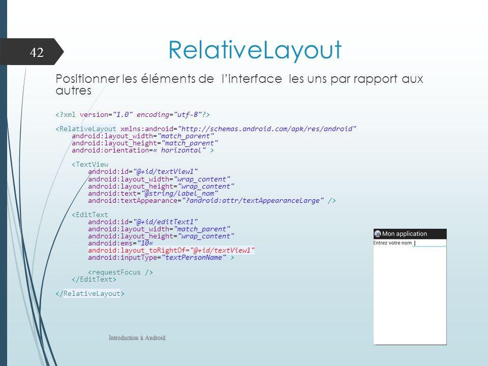 RelativeLayout Positionner les éléments de l'interface les uns par rapport aux autres. < xml version= 1.0 encoding= utf-8 >