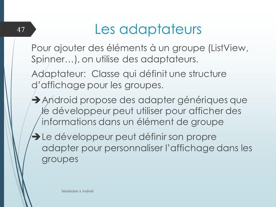 Les adaptateurs Pour ajouter des éléments à un groupe (ListView, Spinner…), on utilise des adaptateurs.
