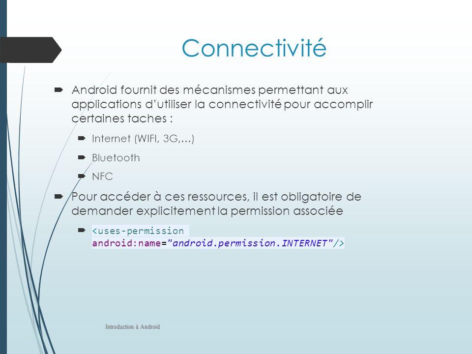 Connectivité Android fournit des mécanismes permettant aux applications d'utiliser la connectivité pour accomplir certaines taches :