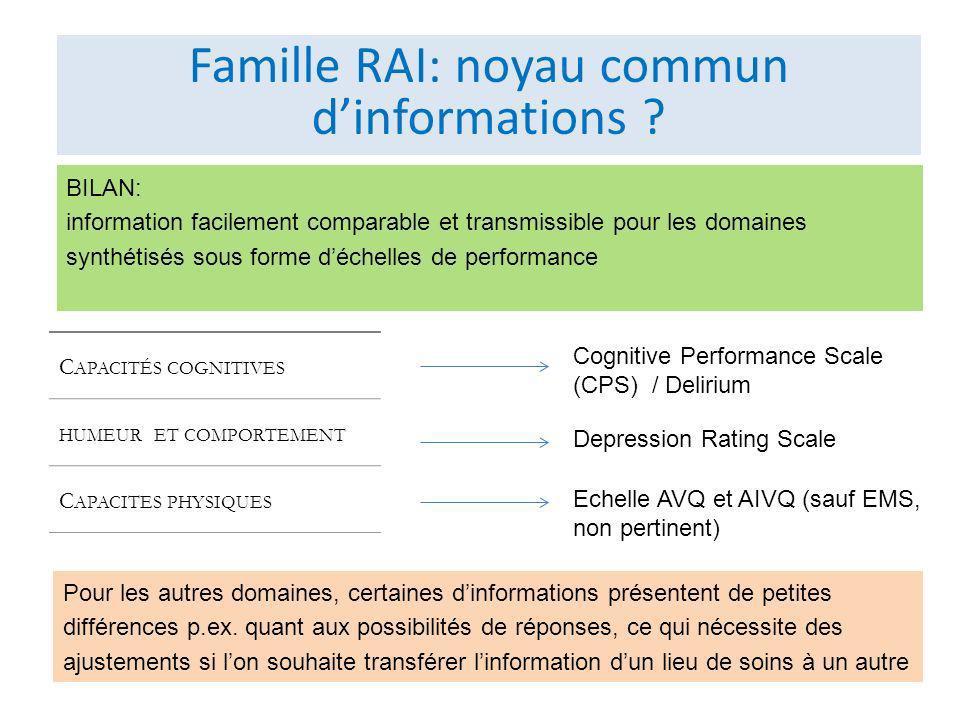 Famille RAI: noyau commun d'informations