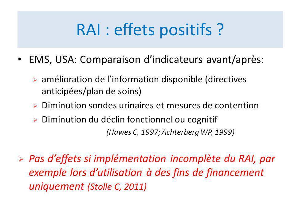 RAI : effets positifs EMS, USA: Comparaison d'indicateurs avant/après: