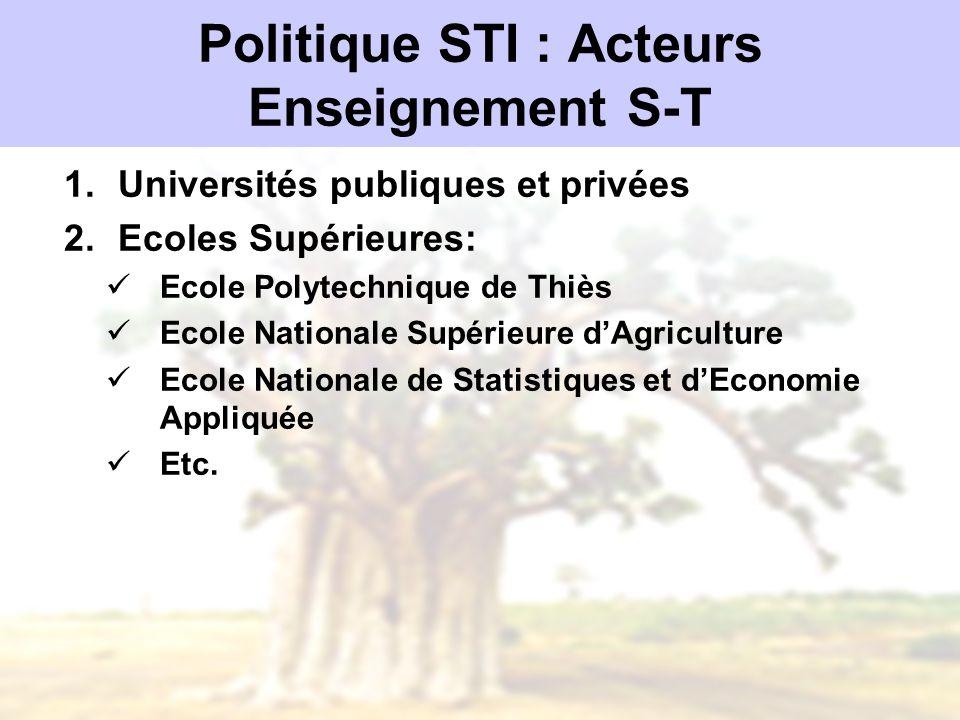 Politique STI : Acteurs Enseignement S-T