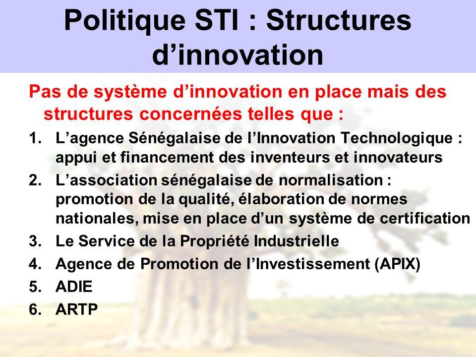 Politique STI : Structures d'innovation