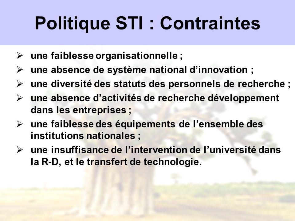 Politique STI : Contraintes