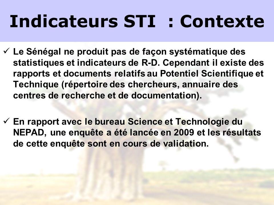 Indicateurs STI : Contexte