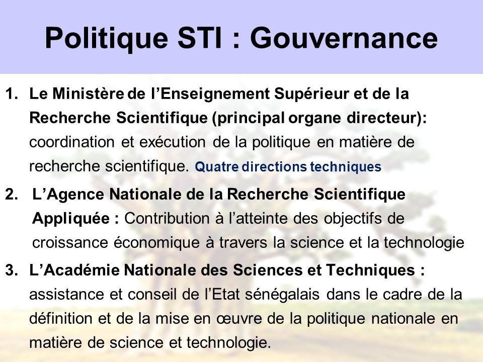 Politique STI : Gouvernance