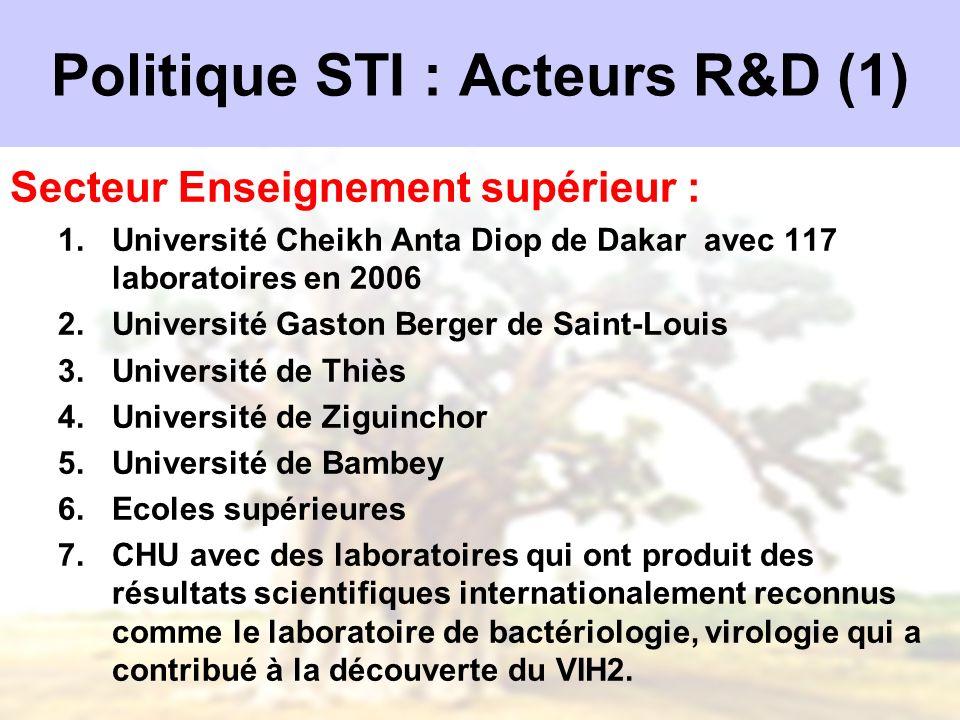 Politique STI : Acteurs R&D (1)