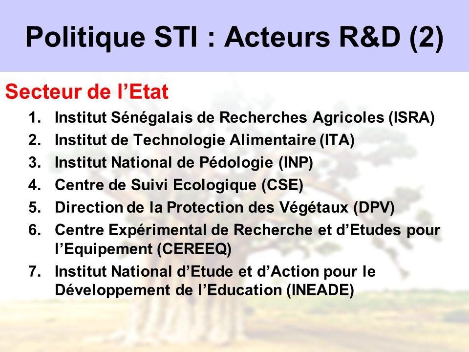 Politique STI : Acteurs R&D (2)