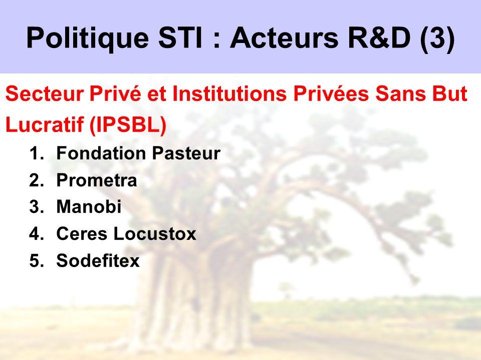 Politique STI : Acteurs R&D (3)