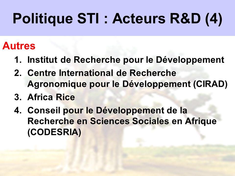 Politique STI : Acteurs R&D (4)