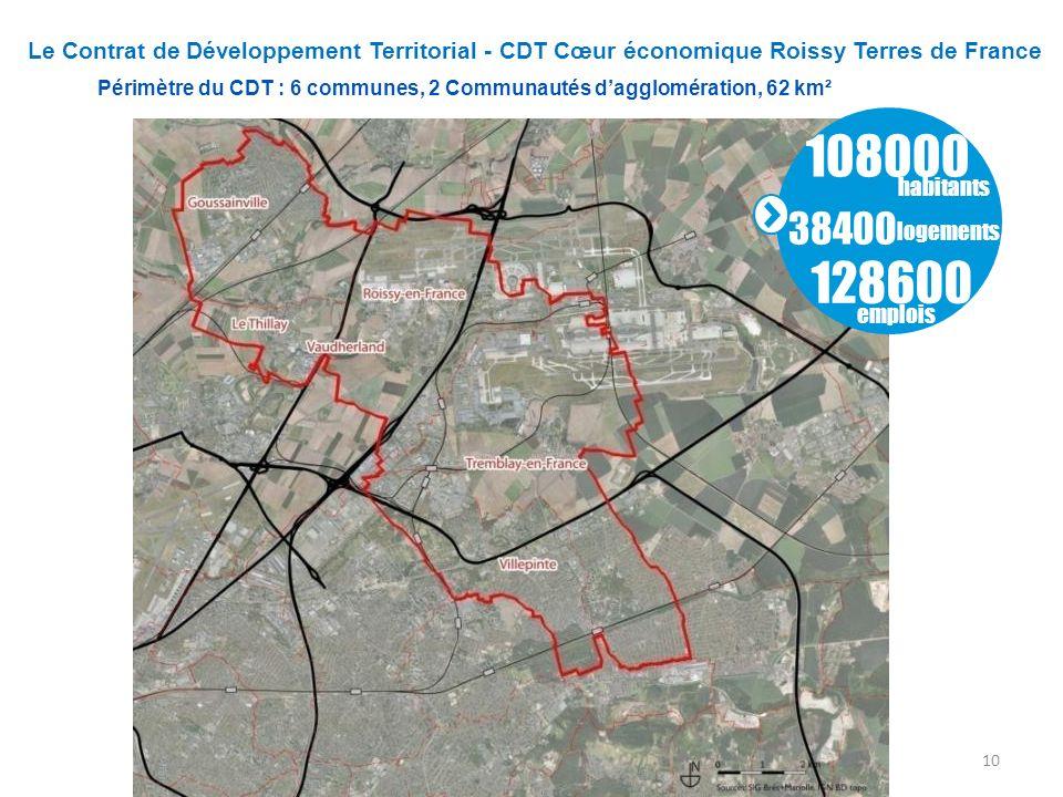 Périmètre du CDT : 6 communes, 2 Communautés d'agglomération, 62 km²